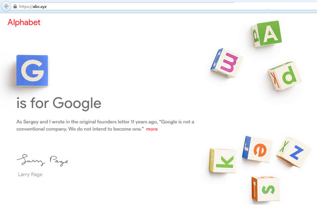 Google uses ABC.xyz now part of Alphabet - www.nicenic.net