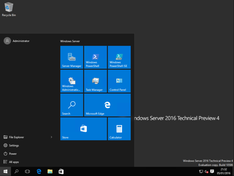 Windows Server 2016 Technical Preview 4的桌面与开始菜单.png